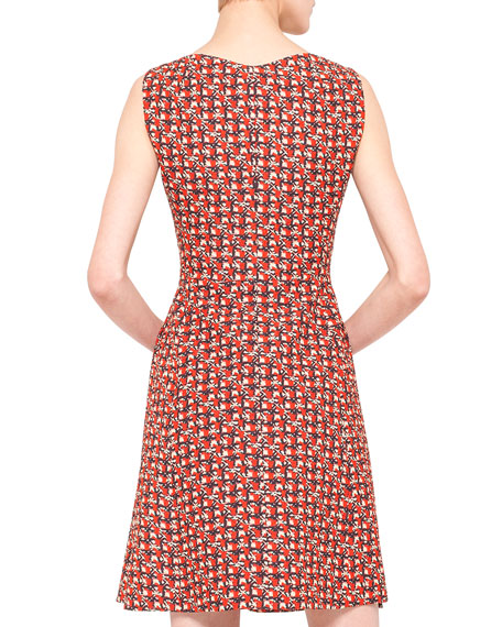 Sheriff-Print Fit-and-Flare Dress