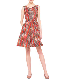 Akris Sheriff-Print Fit-and-Flare Dress