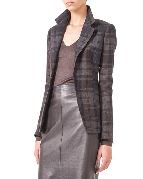 Plaid Flannel Hook-Front Jacket