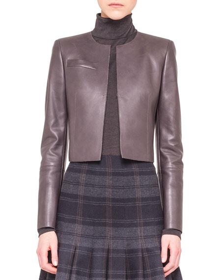 Cropped Cardigan-Style Leather Jacket