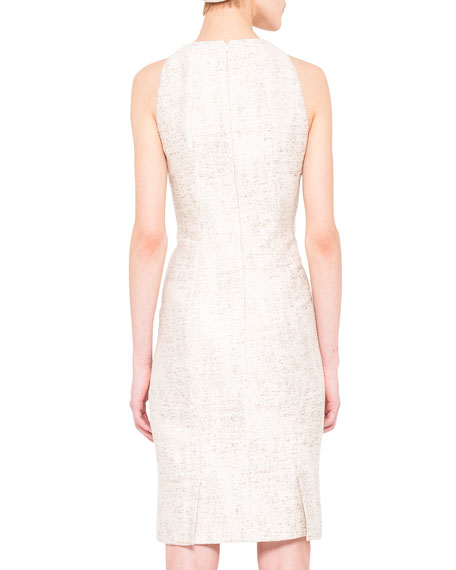 Shimmery Pleat-Detail Jacquard Dress