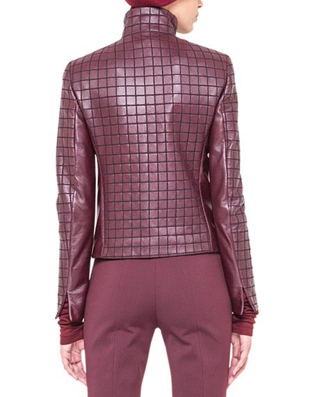 Box-Stitched Leather Zip Jacket