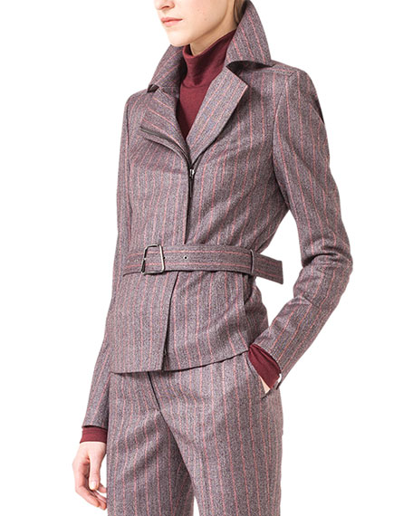 Wool Flannel Pinstripe Moto Jacket