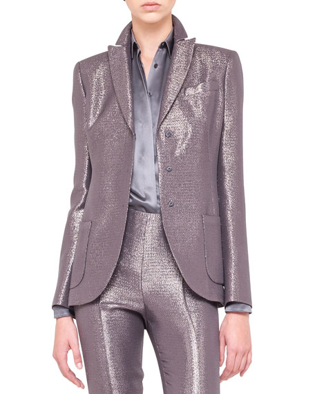 Shimmery Three-Button Jacket