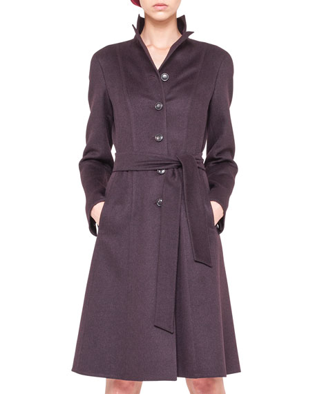 Wool Angora Belted A-Line Coat