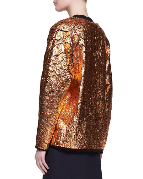 Crackled Metallic Cutaway Sweatshirt