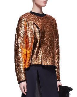 3.1 Phillip Lim Crackled Metallic Cutaway Sweatshirt