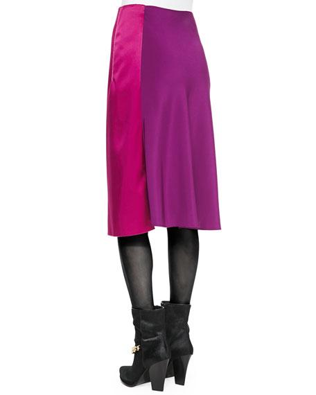 Two-Tone Draped Midi Skirt