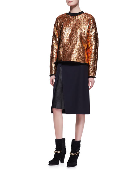 Leather-Layer Slit Pencil Skirt