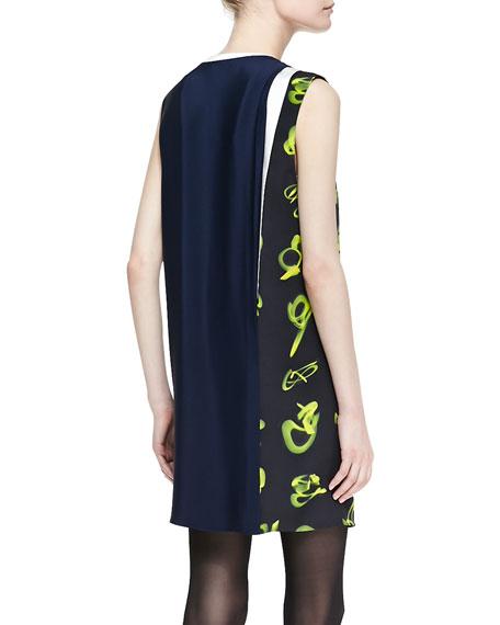 Sleeveless Print-Paneled Shift Dress