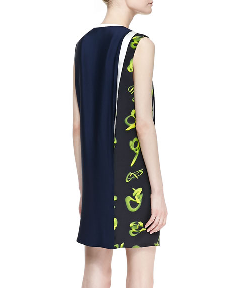 Sleeveless Print-Paneled Shift Dress