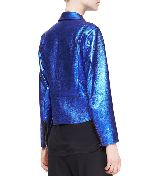 Boxy Metallic Leather Moto Jacket