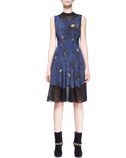 3.1 Phillip Lim Pleated Mesh-Inset Printed Dress