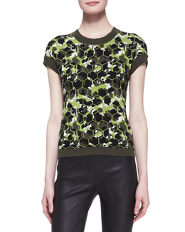 Carolina Herrera Octagon/Camo Virgin Wool Short-Sleeve Sweater, Lime/Multi