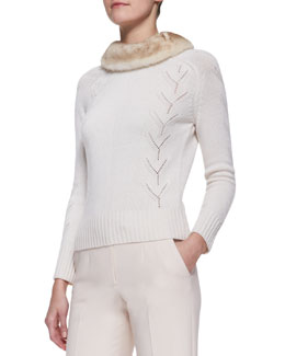 Carolina Herrera Long-Sleeve Cashmere Sweater with Mink Fur Collar