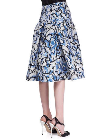 Flared Feather Floral Skirt, Ivory/Black/Blue