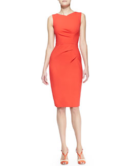 Carolina Herrera Sleeveless Side-Panel Ruched Sheath Dress