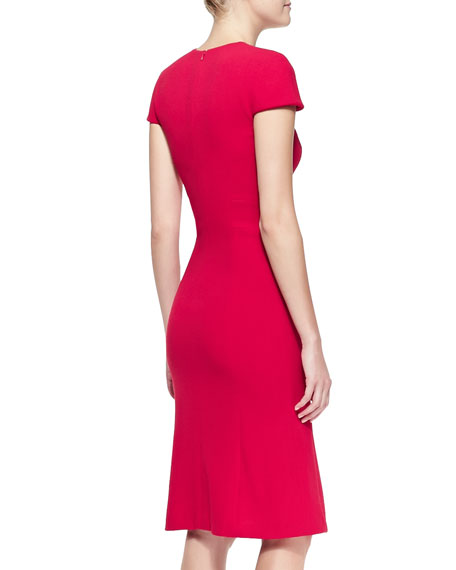 Cap-Sleeve Stretch Wool Crepe Dress, Red