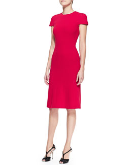 Carolina Herrera Cap-Sleeve Stretch Wool Crepe Dress, Red