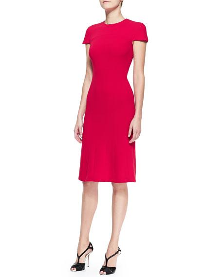 Cap-Sleeve Stretch Wool Crepe Dress, Red