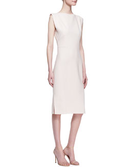 Carolina Herrera Double Face Wool Slit-Shoulder Dress