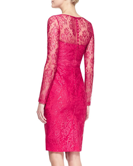 Long-Sleeve Bow-Waist Lace Sheath Dress