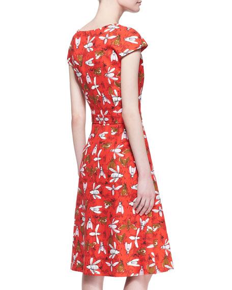 Printed Cap-Sleeve Knot-Waist Dress