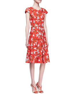 Carolina Herrera Printed Cap-Sleeve Knot-Waist Dress