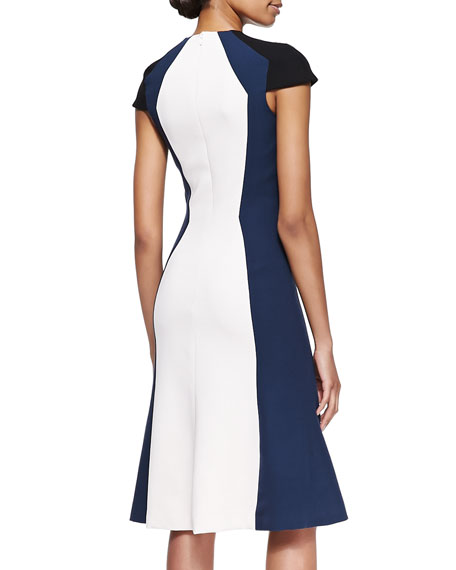 Short-Sleeve Colorblock Stretch Viscose Dress