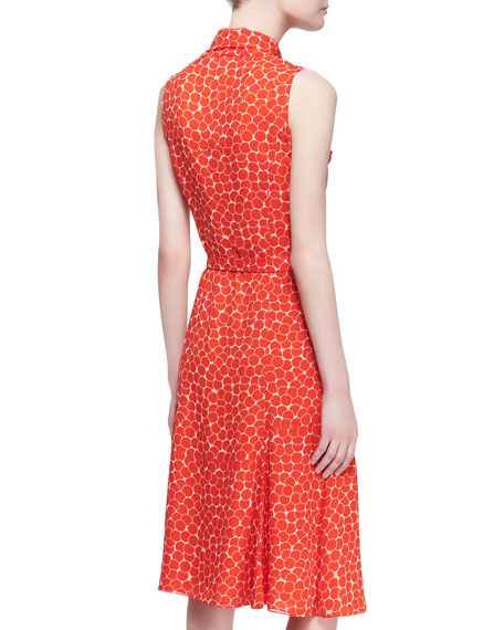 Sleeveless Neck-Tie Dot Silk Dress