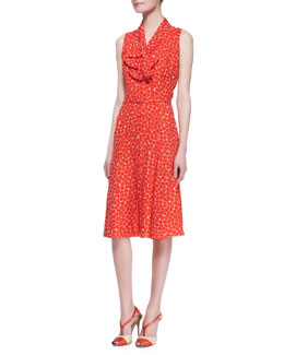 Carolina Herrera Sleeveless Neck-Tie Dot Silk Dress