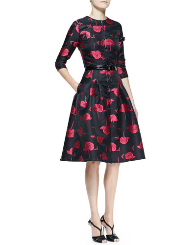Carolina Herrera Bee & Floral Jacquard Full-Skirt Button-Up Dress