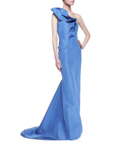 Strapless Ruffle-Shoulder Gown
