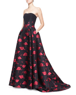 Carolina Herrera Bee & Floral Jacquard Strapless Ball Gown