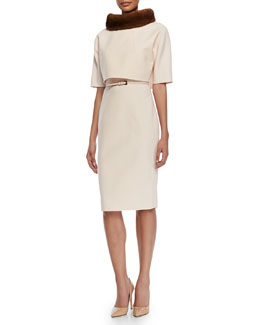 Carolina Herrera Double-Faced Mink-Collar Dress