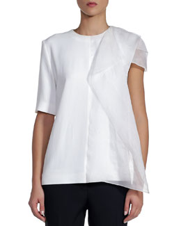 Fendi Short-Sleeve Cady Top with Draped Organza, White