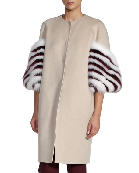 Striped Fox Fur-Sleeve Cashmere Coat, White/Red