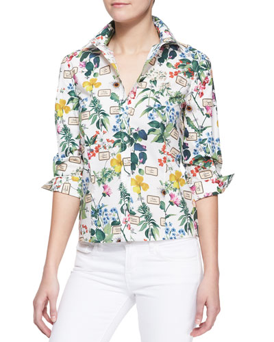 Carolina Herrera Botanical Printed Button-Down Blouse