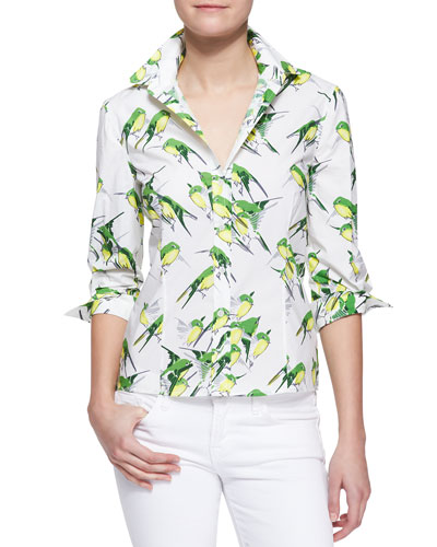 Carolina Herrera Birds Printed Button-Down Blouse