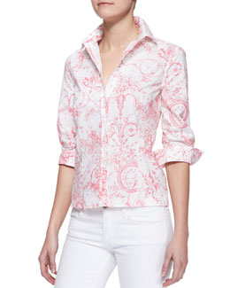 Carolina Herrera Marilyn Toile Button-Down Blouse
