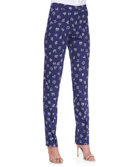 Carolina Herrera Zodiac Printed Straight-Leg Pants