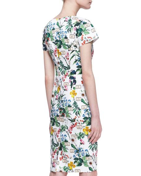 Botanical Cap-Sleeve Sheath Dress