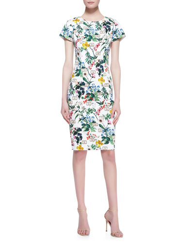 Carolina Herrera Botanical Cap-Sleeve Sheath Dress