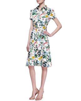 Carolina Herrera Botanical Short-Sleeve Shirtdress