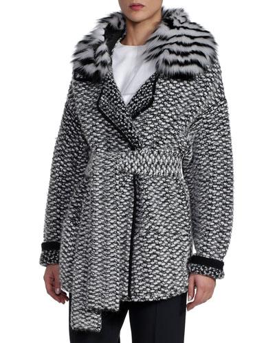 Alpaca Basketweave Coat with Striped Fur Collar, Black/White