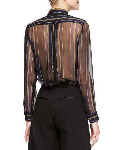 Striped Sheer-Panel Work Shirt