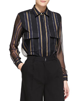 Adam Lippes Striped Sheer-Panel Work Shirt