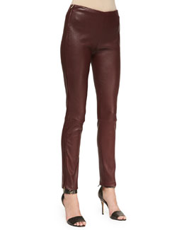 Adam Lippes Oxblood Leather Pants with Side Zip