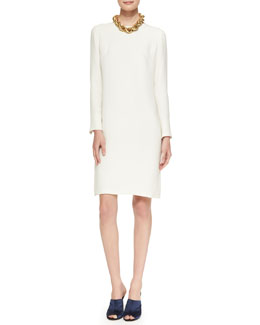 Adam Lippes Long-Sleeve Dress with Keyhole Back & Golden Necklace