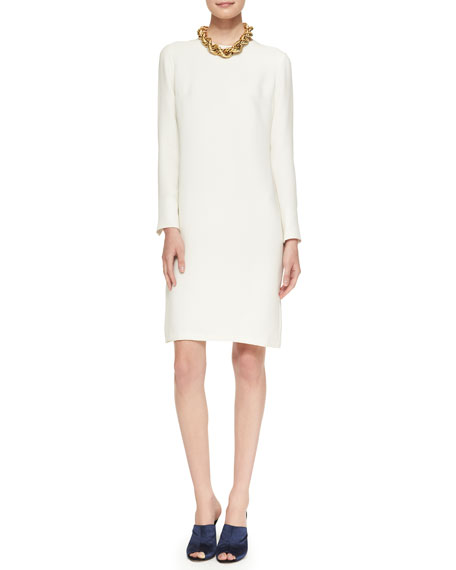 Long-Sleeve Dress with Keyhole Back & Golden Necklace